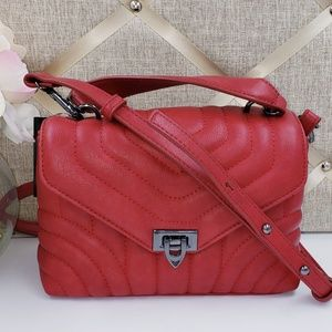 INC Red Faux Leather Small Crossbody Bag
